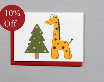 HOLIDAY SALE -- 10% OFF Giraffe with Christmas Tree 4-Bar Folded Card