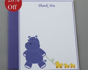 HOLIDAY SALE -- 20% OFF Purple Hippo Baby Shower (Thank You) A2 Flat Note Cards (Set of 10)