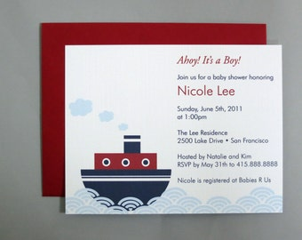 Steamboat  A2 Flat Note Baby Shower Invitations (Choose your envelope color)  (Set of 10)