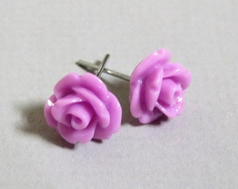 Lillac Resin Rose Cabochons 10mm Earrings