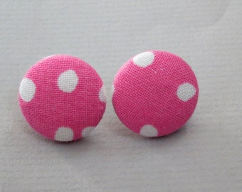 """3/4"""" Size 30 Pink and White Dots Fabric Covered Button Earrings"""