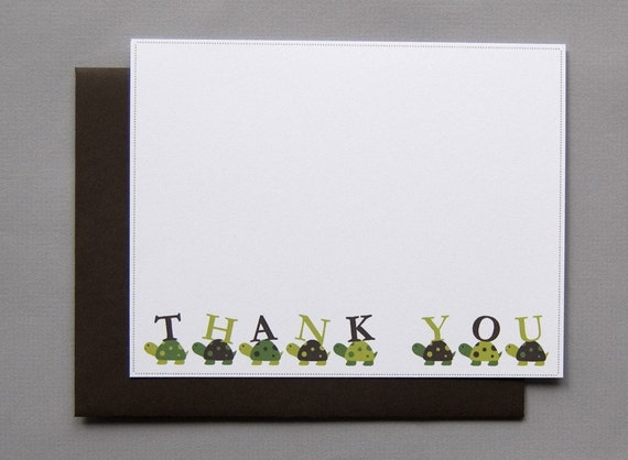 Little Turtles Baby Shower (Thank You) A2 Flat Note Cards (Choose your envelope color) (Set of 10)
