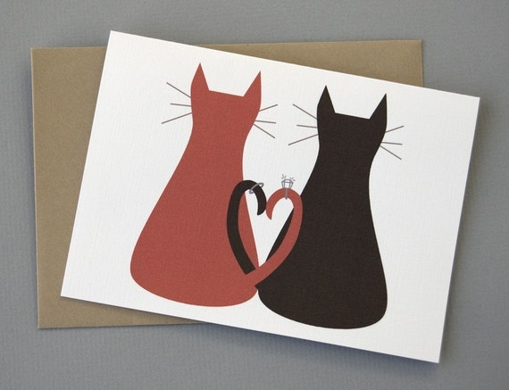 Cats with Wedding Rings (Congratulations) 4-Bar Folded Card