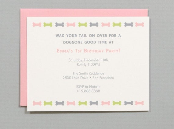 Dog Themed Birthday Party Invitations