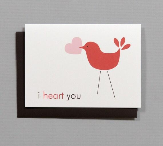 Little Bird (I Heart You) Valentine's/Wedding/Anniversary/Engagement 4-Bar Folded Card