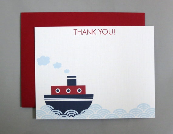 Steamboat Baby Shower Thank You A2 Flat Note Cards (Choose your envelope color) (Set of 10)