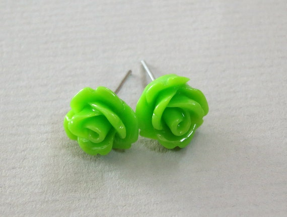 Candy Apple Green Resin Rose Cabochons 10mm Earrings