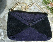 CLEARANCE-Stunning Vintage Hilde Walborg Black Glass Micro Bead and Bugle bead Elegant cocktail Ladies Handbag