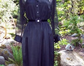 Midnight at the Oasis- Sexy 70s Satin dress-Sheer chiffon layered top with Velvet Shoulders