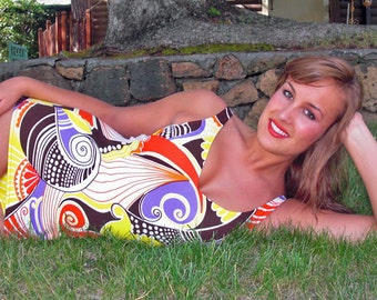 Vibrant Robby Len Vintage 60s/70s Womens Multi Color 1 piece Swimsuit
