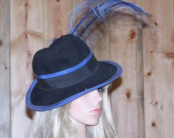 Vintage 1940s Mr John Classic New York Paris Navy Blue Hat with Feathered Plume