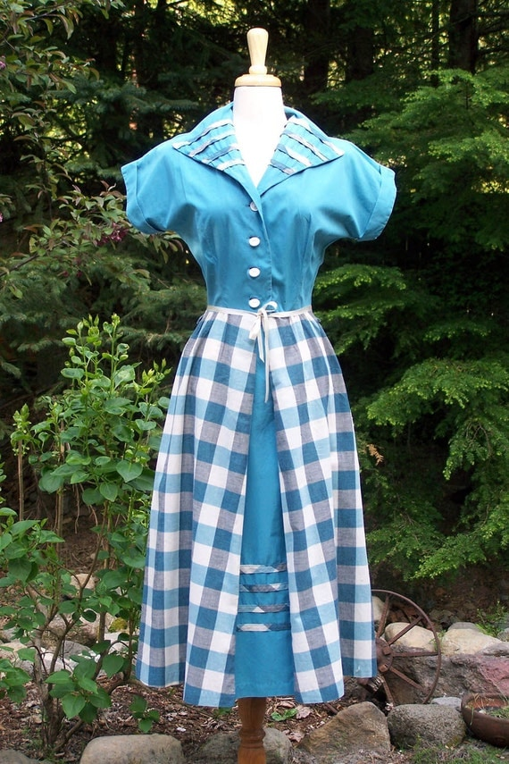 Vintage 1940s Turquoise Plaid Sassy Day Dress-