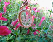 Vintage Intaglio Cameo Gold Tone   Mid Century Glass Pendant/ Mom /Grandmother /Child's Pendant