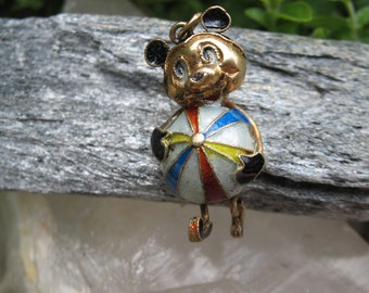 Vintage  Disney  Mickey Mouse Cloisonne Gold Vermeil Pendant/ disney world /mickey collectible