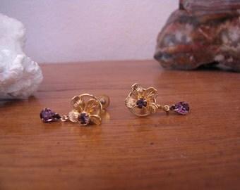 Vintage Gold Tone Flower Motif with  Amethyst  Drop Earrings