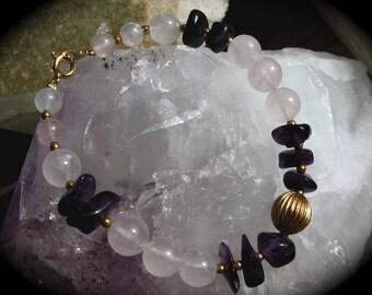 Vintage Rose Quartz and Amethyst Bracelet/Balancing & Peaceful Healing Energy