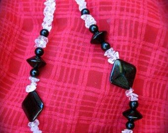 Vintage  Black Onyx and Quartz Crystal Necklace