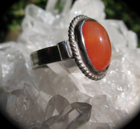 Vintage Native American Navajo Carnelian and Sterling  Silver Ring