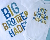 Boys Set of Two Big Brother Little Brother Shirt set of 2, Sibling Shirt, Personalized Tshirt and Onesie (01162012b)
