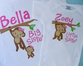 Big Sister Little Sister Outfit Shirt set of 2, Sibling Shirt, Personalized Tshirt with Cute Monkeys, Sprinkle Baby Shower Gift (01022014b)