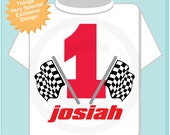 First Birthday Checkered Flag Racer Birthday Shirt Personalized Birthday Boy Racing Theme Tee Shirt or Onesie