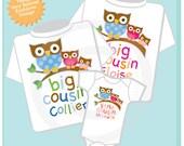 Set of Three Big Cousin Boy Owl Shirt, Big Cousin Girl Owl Shirt, and Little Cousin Shirt Set Personalized Owl Tee Shirt or Onesie