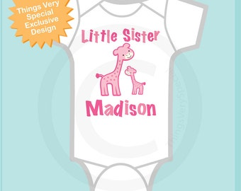 Little Sister Giraffe Tee Shirt or Onesie
