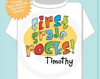 First Grade Shirt, Personalized 1st Grade Shirt, First Grade Rocks Shirt Child's Back To School Shirt (08162011a)