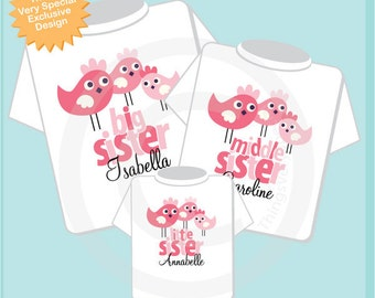 Big Sister Shirt, Middle Sister Shirt, and Little Sister Shirt Set Personalized Birdie Tee Shirt outfit or Onesie Set of Three (01282014d)