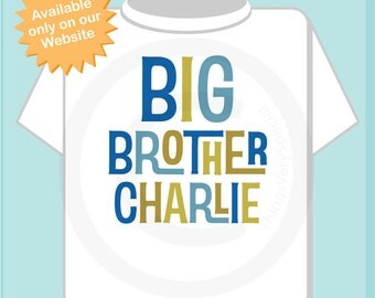 Boys Personalized Big Brother Tshirt or Onesie, Infant, Toddler or Youth sizes (12172013b)