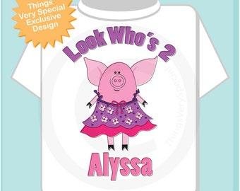 Pig Birthday Shirt or Onesie, Pink Girls Pig Birthday Shirt Personalized with Child's Name and age tshirt (02172015f)