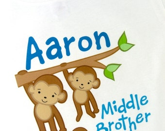 Middle Brother Shirt, Monkey Shirt, Middle Brother Monkey, Personalized Middle Brother with Two Brothers Monkey Tee Shirt or Onesie