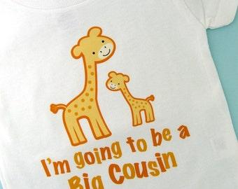 I'm going to Be a Big Cousin Giraffe Tee Shirt or Gerber Onesie (12172013a)