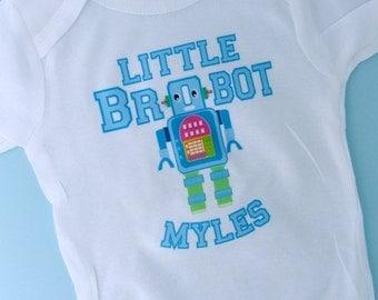 Robot Brobot shirt, Little Brother Shirt, Personalized Little Brother Robot Onesie or Tee Shirt (07072010a)