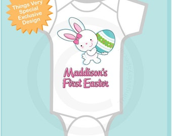 Easter Outfit | First Easter Onesie Personalized | Baby's 1st Easter Onesie First Easter Bunny and Egg Shirt Toddlers and Kids (03072012a)
