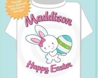 Happy Easter Shirt, Personalized Easter Shirt or Onesie, Easter Bunny and Egg Shirt for Toddlers and Kids (03072012b)