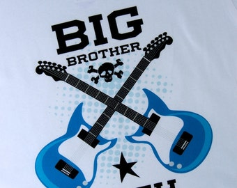 Big Brother Guitar Rocker Shirt or Onesie, Personalized Big Brother Shirt, Infant, Toddler or Youth sizes t-shirt (03092012a)