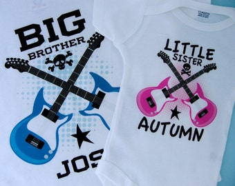 Set of Two Personalized Boys Big Brother and Girls Little Sister Guitar Rocker Shirt or Onesie, Infant, Toddler or Youth sizes (03192014b)