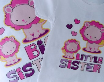 Set of Two Personalized Big Sister and Little Sister Lion, Big Sister and Little Sister shirt and Onesie (03102012c)