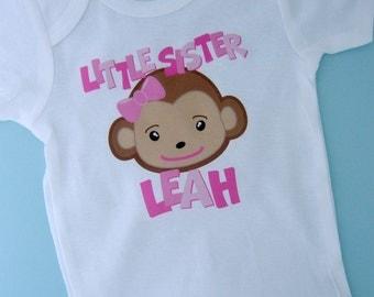 Little Sister Monkey Onesie, Little Sister Monkey Shirt, Personalized Little Sister Monkey Tee Shirt or Onesie (10292012c)