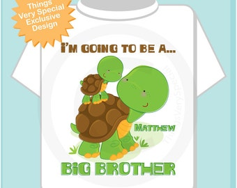 Personalized I'm Going to Be A Big Brother Turtle Shirt, Big Brother Onesie, with Little Brother or Unknown Sex Baby (04092012a)