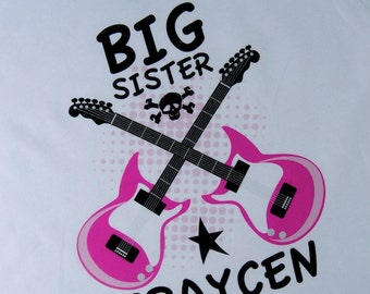 Big Sister Guitar Rocker Shirt or Onesie, Personalized Big Sister Shirt, Infant, Toddler or Youth sizes t-shirt (04062012a)