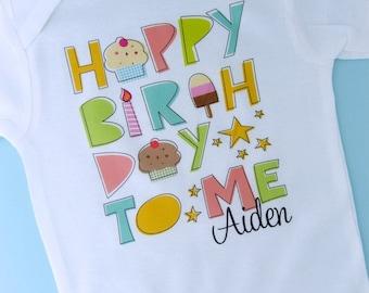 Birthday Shirt, Personalized Happy Birthday to Me Shirt or Onesie with Child's Name, Happy Birthday to Me Shirt (08262011b)