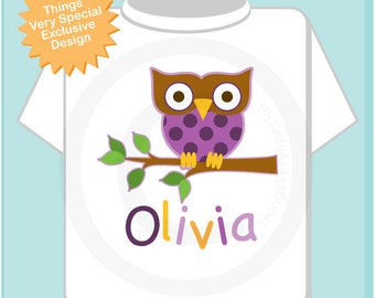 Personalized Purple Girl Owl Shirt or Onesie with Child's Name (04252012a)