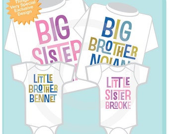 Set of Four, Big Sister, Big Brother, Little Sister, Little Brother Tees and Onesies (02272014c)