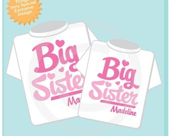 Set of 2 Big Sister Pink Script Shirts Personalized Infant, Toddler or Youth Tee Shirt or Onesie Pregnancy Announcement (02102012c)