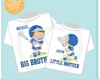 Personalized Set of 2 Big Brother and Little Brother Lacrosse Players Tee Shirts or Onesies