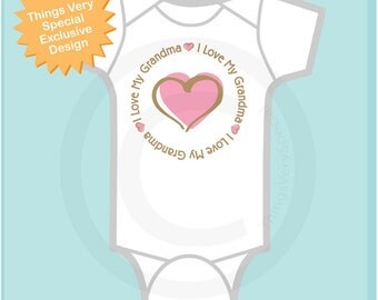 Girl's Personalized I Love My Grandma Shirt or Grandmother with Pink Heart Tee Shirt or Onesie (05012012j)