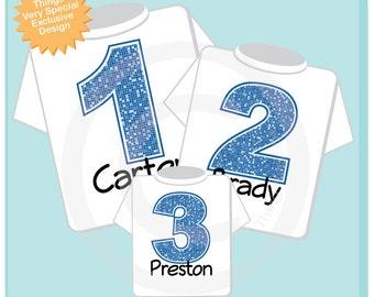 Sibling Number Shirt Set, Set of Three, Biggest Brother Shirt, Big Brother, and Baby Brother,  Personalized Shirt or Onesie (03202014g)