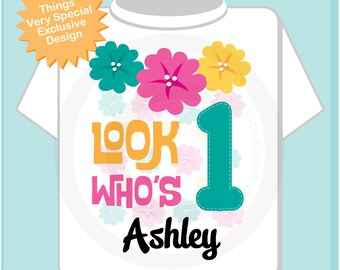 Hawaiian Luau First Birthday Onesie, 1st Birthday Shirt, Personalized Girls Birthday Onesie, Age and Name Tee or Infant Onesie (06082012b)